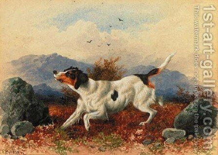 A pointer in a landscape by Charles Edward Snr Brittan - Reproduction Oil Painting