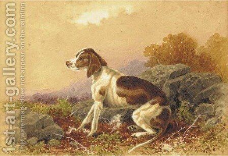 A seated hound in a landscape by Charles Edward Snr Brittan - Reproduction Oil Painting
