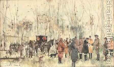 11am Beer o', a break from the shooting by Charles Edward Dixon - Reproduction Oil Painting