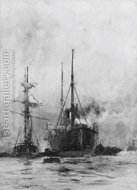 A steamer and other shipping in the Lower Pool by Charles Edward Dixon - Reproduction Oil Painting