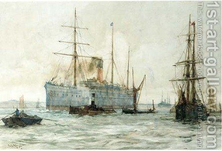 A steamer of the Castle Line on the Thames by Charles Edward Dixon - Reproduction Oil Painting