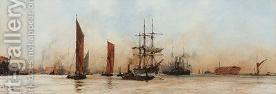 Off the Albert Docks by Charles Edward Dixon - Reproduction Oil Painting