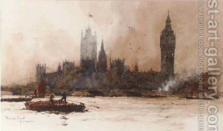 The Houses of Parliament, from the river Thames by Charles Edward Dixon - Reproduction Oil Painting