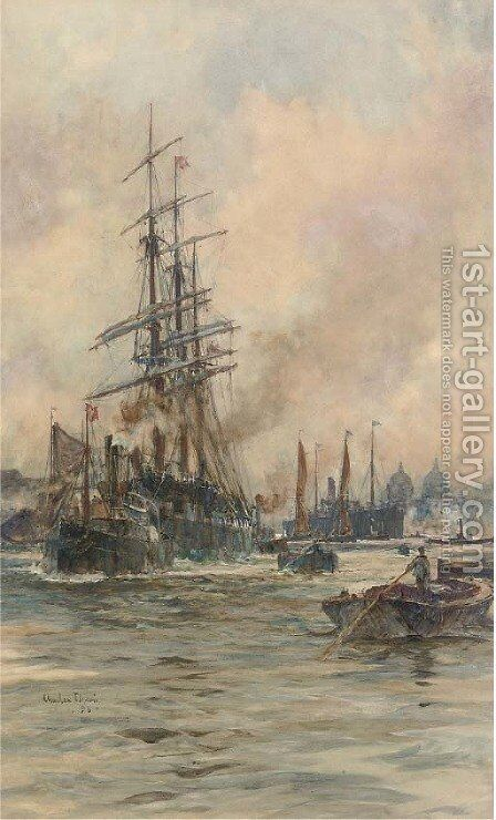 A three-master being towed down river on the tide, with a New York-bound steamer also in the river by Charles Edward Dixon - Reproduction Oil Painting