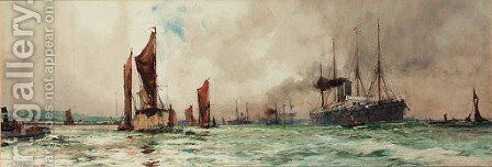 Below Gravesend by Charles Edward Dixon - Reproduction Oil Painting