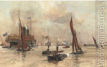 Below Tilbury by Charles Edward Dixon - Reproduction Oil Painting