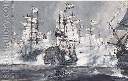 The Anglo-Dutch war by Charles Edward Dixon - Reproduction Oil Painting