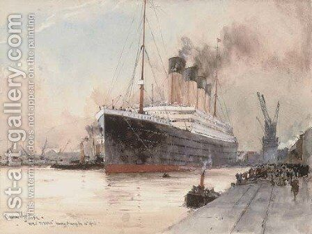 R.M.S. Titanic clearing the dockside at Southampton, 10th April, 1912 by Charles Edward Dixon - Reproduction Oil Painting