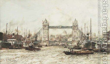 Tower Bridge by Charles Edward Dixon - Reproduction Oil Painting