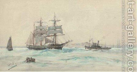 Waiting for a tug by Charles Edward Dixon - Reproduction Oil Painting