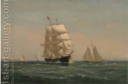 The American brig Atalante in coastal waters by Charles Edward Johnson - Reproduction Oil Painting
