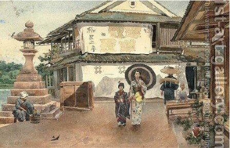 Walking home, an afternoon in a Japanese village by Charles Edwin Fripp - Reproduction Oil Painting