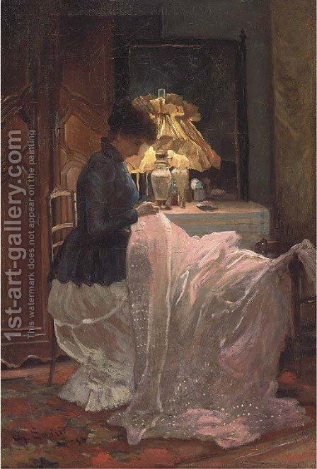 La bordeuse by Charles Endres - Reproduction Oil Painting