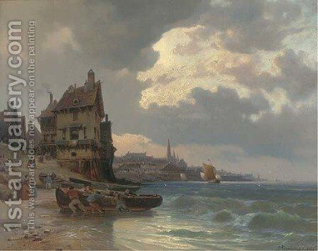 Dragging a fishing boat ashore by a French port by Charles Euphraisie Kuwasseg - Reproduction Oil Painting