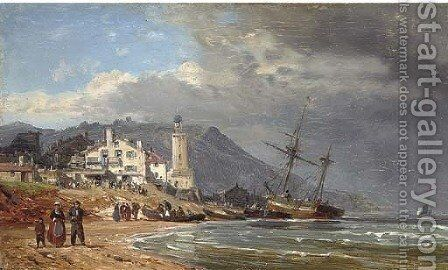Unloading vessels on the Normandy coast by Charles Euphraisie Kuwasseg - Reproduction Oil Painting