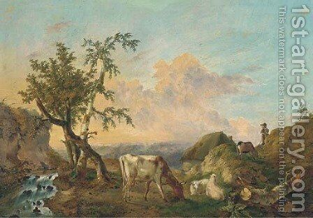 Sheep and cattle grazing beside a stream with a shepherd looking on by Charles Desan - Reproduction Oil Painting
