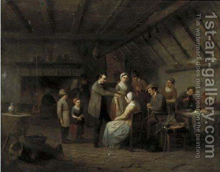 Le magnetiseur treating a patient in a tavern by Charles Venneman - Reproduction Oil Painting