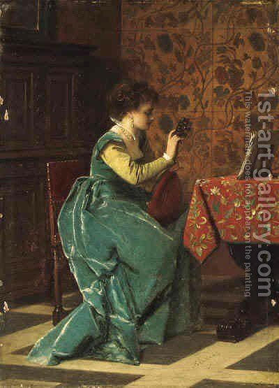 Tuning her Lute by Charles Francois Pecrus - Reproduction Oil Painting