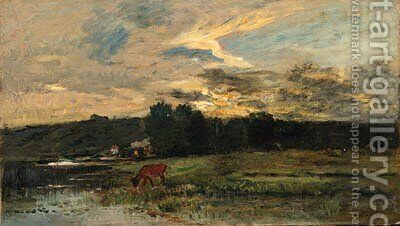 Landscape with Cow watering at a quiet Pool by Charles-Francois Daubigny - Reproduction Oil Painting