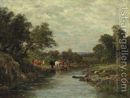 Cows Watering by Figures in a Canoe by Charles Franklin Pierce - Reproduction Oil Painting