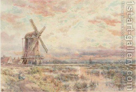A windmill on the Fens at dusk by Charles Frederick Allbon - Reproduction Oil Painting