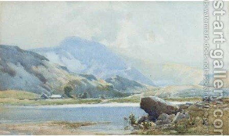 Figures and fishing vessels on the beach at low tide by Charles Frederick Allbon - Reproduction Oil Painting