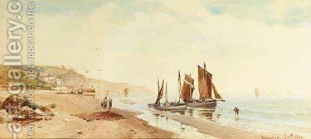 Fishing boats on a beach in Devonshire by Charles Frederick Allbon - Reproduction Oil Painting