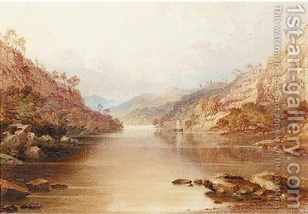 A sailing vessel on a lake in a mountainous landscape by Charles Frederick Buckley - Reproduction Oil Painting