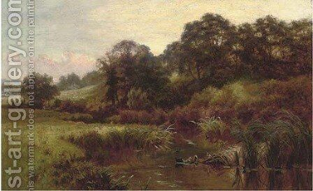 A meandering summer river by Charles Gibbs - Reproduction Oil Painting