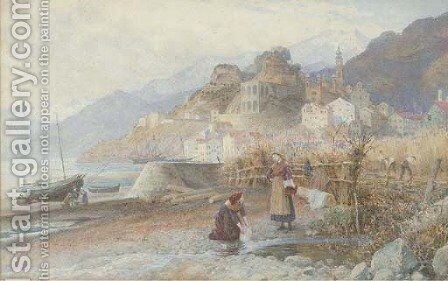 Washerwomen on the Italian coast by Charles Gregory - Reproduction Oil Painting