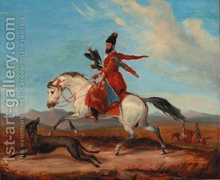 An Arab horseman holding a falcon by Charles Hamilton - Reproduction Oil Painting