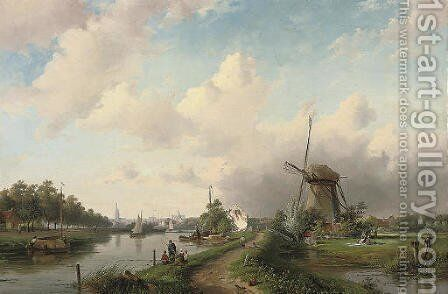 A summer's day at a Dutch windmill by Charles Henri Joseph Leickert - Reproduction Oil Painting