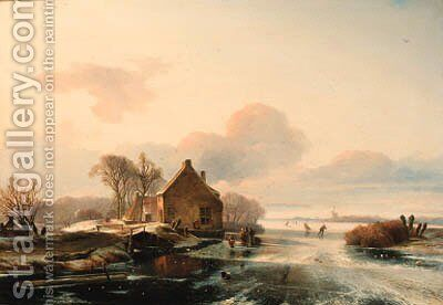 A winter landscape with skaters on a lake by Charles Henri Joseph Leickert - Reproduction Oil Painting
