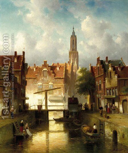 Figures on a quay in a town by Charles Henri Joseph Leickert - Reproduction Oil Painting