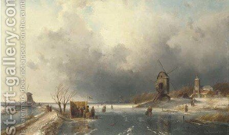 Skaters in a Winter landscape by Charles Henri Joseph Leickert - Reproduction Oil Painting