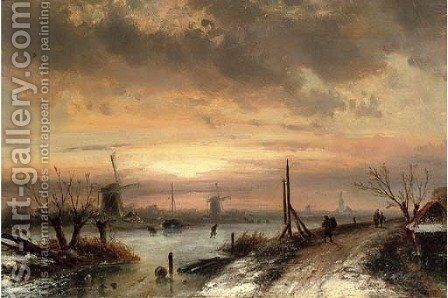Figures at a frozen Dutch waterway, dusk by Charles Henri Joseph Leickert - Reproduction Oil Painting
