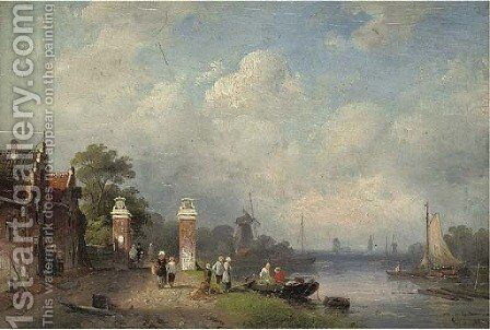 Figures at the edge of a Dutch canal by Charles Henri Joseph Leickert - Reproduction Oil Painting