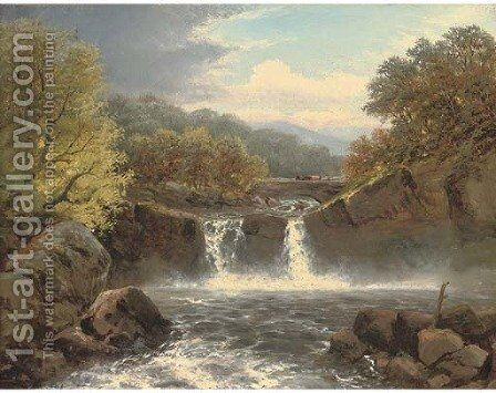 A fall on the Wharfe, Yorkshire by Charles Henry Passey - Reproduction Oil Painting