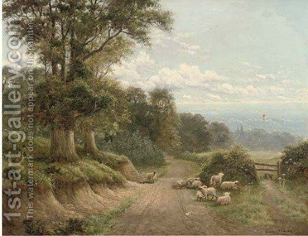 A lane near Dorking, Surrey by Charles Henry Passey - Reproduction Oil Painting