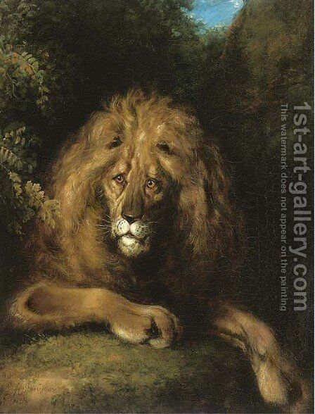 A noble lion by Charles Henry Schwanfelder - Reproduction Oil Painting