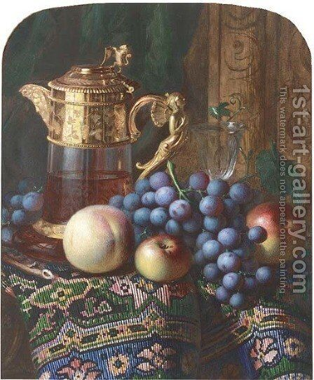 Still life of apples, a peach, grapes, a ewer and a glass, on a draped table by Charles H. Slater - Reproduction Oil Painting
