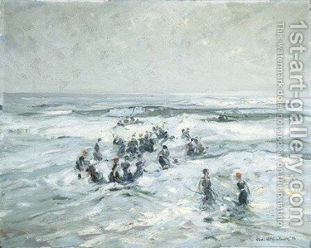 Splashing in the Surf by Charles Herbert Woodbury - Reproduction Oil Painting