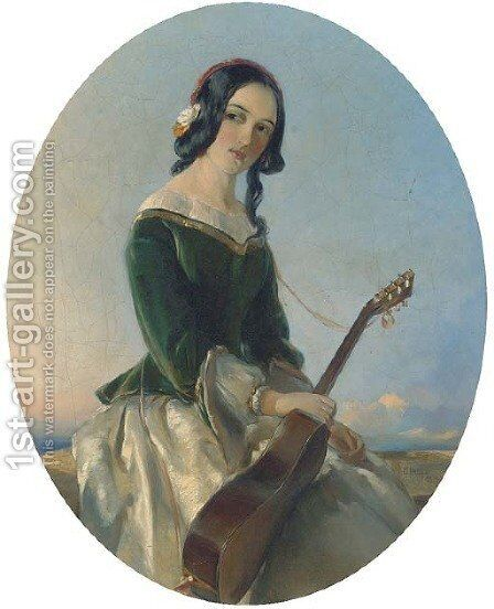 The young guitarist by Charles Hunt - Reproduction Oil Painting