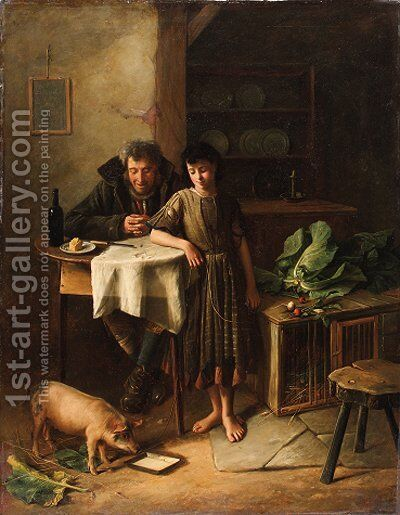 The Gint who Pays the Rint by Charles Hunt - Reproduction Oil Painting