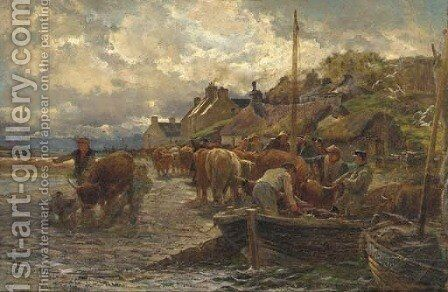 Loading the cattle, Isle of Skye by Charles James Adams - Reproduction Oil Painting