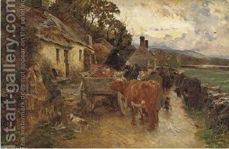 On a Highland road by Charles James Adams - Reproduction Oil Painting