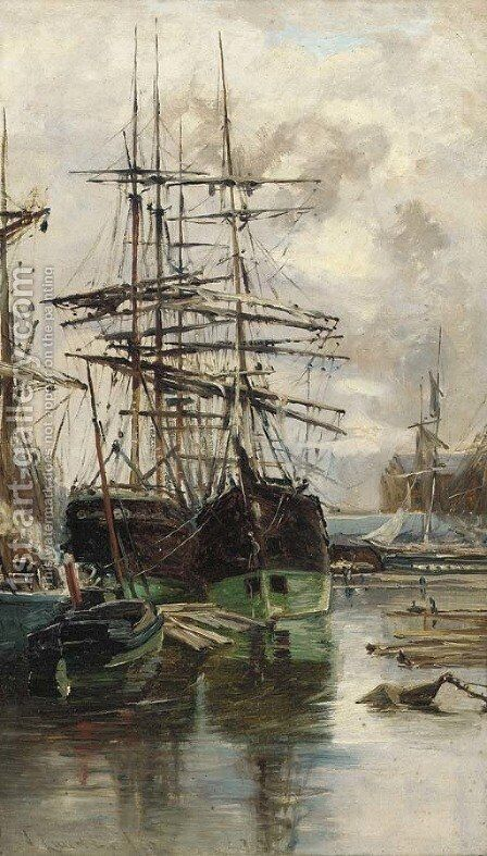 Shipping on the Clyde by Charles James Lauder - Reproduction Oil Painting