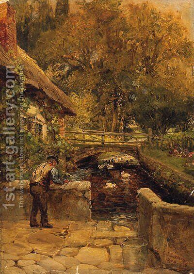 Ducks On A Stream By A Cottage In A Wooded Landscape by Charles James Lewis - Reproduction Oil Painting