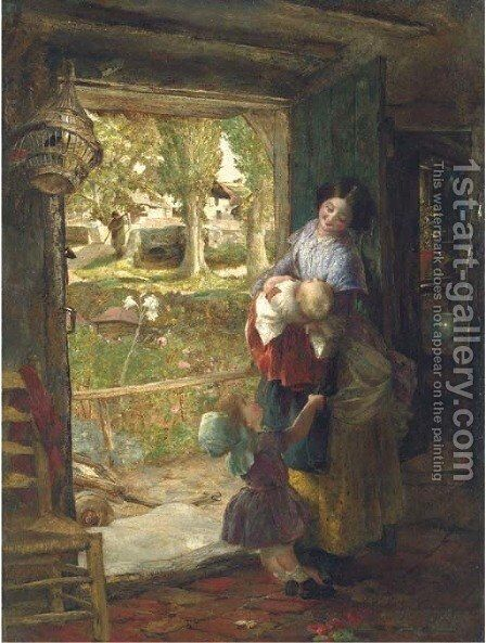A cottage door by Charles James Lewis - Reproduction Oil Painting