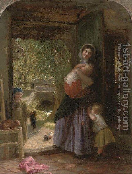 The Cottage Door by Charles James Lewis - Reproduction Oil Painting